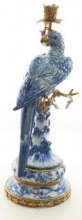 Casa Padrino Jugendstil Kerzenständer mit Papagei Blau / Weiß / Gold 21, 8 x 18, 6 x H. 50, 7 cm - Jugendstil Porzellan Deko Kerzenhalter