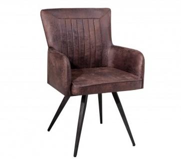 Casa Padrino Designer Stuhl mit Armlehnen Antik Braun 60cm x 90cm x 60cm - Büromöbel