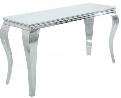 Casa Padrino Designer Konsole 140 cm Weiss / Silber - Modern Barock