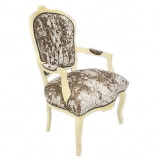 Casa Padrino Barock Salon Stuhl Khaki Velour Stoff / Creme - Antik Design Möbel - Vorschau 2