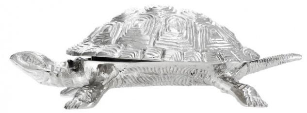 Casa Padrino Luxus Schatulle mit Deckel Schildkröte Messing vernickelt 19, 5 x 10, 5 x H. 6, 5 cm - Luxus Dekoration - Vorschau 5