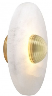 Casa Padrino Luxus LED Wandleuchte Alabaster / Hell Messingfarben 28 x 12, 5 x H. 28 cm - Runde Designer Lampe - Luxus Kollektion