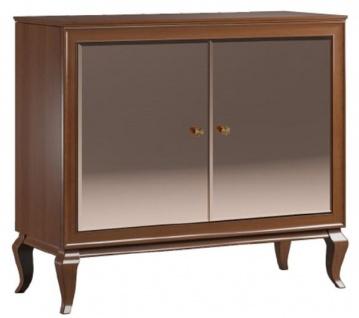 Casa Padrino Luxus Art Deco Sideboard Dunkelbraun 108, 7 x 43, 5 x H. 95, 5 cm - Massivholz Schrank mit 2 verspiegelten Türen - Art Deco Wohnzimmer Möbel