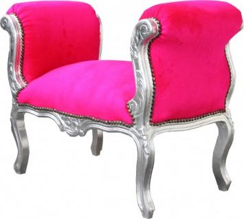 Casa Padrino Barock Schemel Hocker Pink / Silber - Sitzbank - Vorschau 2