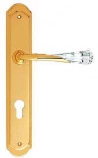 Casa Padrino Luxus Türklinken Set Gold 15 x H. 28 cm - Türgriffe mit Swarovski Kristallglas