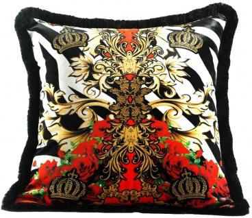 Harald Glööckler Luxus Deko Kissen Pompöös by Casa Padrino Crowns & Roses - Feinster Samtstoff - Glööckler Kissen mit Strass Steinen