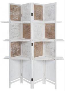 Casa Padrino Landhausstil Raumteiler mit 3 Regalen Antik Weiß / Antik Braun 155 x 2 x H. 181 cm - Shabby Chic Paravent Sichtschutz Trennwand - Vorschau 2