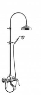 Luxus Bad Zubehör - Jugendstil Retro Wannenfüllmischer mit Säulenbrause und Schiebe Brausehalter - Armatur Badewanne- Chrom - Serie Milano - Made in Italy