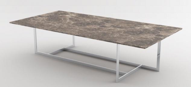 Casa Padrino Luxus Couchtisch Silber / Braun 160 x 80 x H. 40 cm - Moderner rechteckiger Wohnzimmertisch mit Marmorplatte und Edelstahl Gestell - Luxus Kollektion