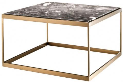 Casa Padrino Beistelltisch Grau / Messing 65 x 65 x H. 38 cm - Luxus Edelstahl Tisch mit Marmorplatte