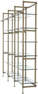 Casa Padrino Luxus Regalschrank Messingfarben 222, 5 x 51 x H. 238 cm - Edelstahl Schrankwand mit 18 verstellbaren Glasregalen - Wohnzimmerschrank - Büroschrank - Luxus Möbel - Vorschau 4