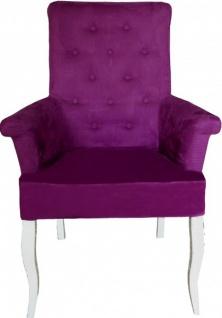 Casa Padrino Esszimmer Stuhl Lila / Weiß mit Armlehnen - Barock Möbel