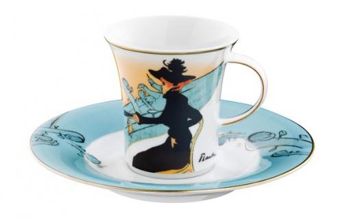 """Handgearbeitete Moccatasse aus Porzellan mit einem Motiv von T. Lautrec """" Divan Japonais"""" 0, 09 Ltr. - feinste Qualität aus der Tettau Porzellanfabrik - wunderschöne Espressotasse"""