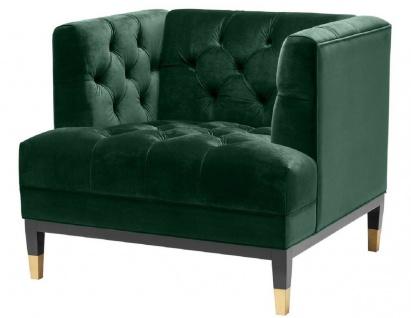 Casa Padrino Luxus Wohnzimmer Sessel Grün / Schwarz / Messingfarben 93 x 85 x H. 79 cm - Chesterfield Möbel