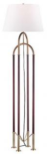 Casa Padrino Luxus Stehleuchte Antik Messingfarben / Braun / Weiß Ø 50, 8 x H. 172, 7 cm - Edle Metall Leuchte mit hochwertigem Leder und Leinen Lampenschirm - Luxus Qualität