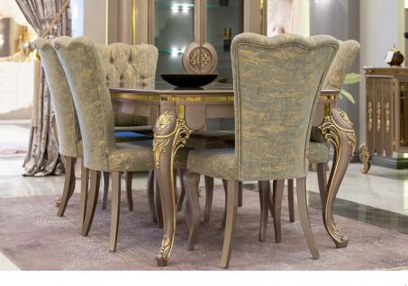 Casa Padrino Luxus Barock Esszimmer Set Grün / Gold / Grau - 1 Esstisch & 6 Esszimmerstühle - Prunkvolle Esszimmermöbel im Barockstil - Luxus Qualität - Vorschau 1