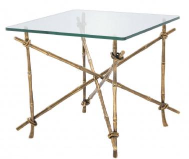 Casa Padrino Luxus Beistelltisch Vintage Messingfarben 55 x 55 x H. 49, 5 cm - Messing Tisch mit Glasplatte - Luxus Möbel