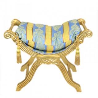Casa Padrino Barock Sitzbank Gold Muster Bunt / Gold- Kreuzhocker Hocker