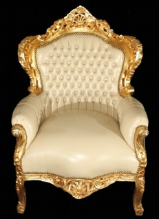 Casa Padrino Barock Sessel King Creme Lederoptik / Gold mit Bling Bling Glitzersteinen