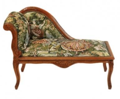 Casa Padrino Barock Kinder Chaiselongue Gobelin Muster / Mahagoni - Tron Barock Möbel