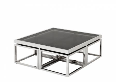 Casa Padrino Luxus Art Deco Designer Couchtisch 5er Set mit Rauchglas - Wohnzimmer Salon Tisch - Luxus Qualität - Vorschau 2