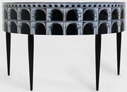 Casa Padrino Luxus Jugendstil Mahagoni Schreibtisch mit 10 Schubladen Schwarz / Silber / Grau / Weiß 144 x 79 x H. 91 cm - Halbrunder Bürotisch - Büromöbel - Luxus Qualität - Vorschau 4