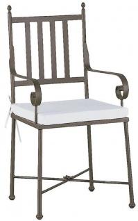 Casa Padrino Luxus Jugendstil Gartenstuhl mit Armlehnen und Sitzkissen Braun / Weiß 47 x 50 x H. 103 cm - Handgeschmiedeter Esszimmer Stuhl - Esszimmer Garten Terrassen Möbel
