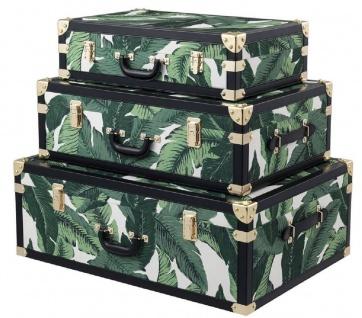 Casa Padrino Luxus Koffer Set Grün / Weiß / Schwarz / Gold - Vintage Deko Koffer im Retro Look- Luxus Accessoires