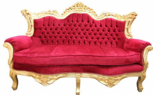 Casa Padrino Barock 2er Sofa Master Bordeaux Rot / Gold Mod2 - Wohnzimmer Möbel Loung Couch