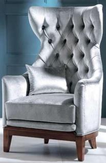 Casa Padrino Luxus Art Deco Samt Ohrensessel Grau / Braun 73 x 78 x H. 119 cm - Chesterfield Wohnzimmer Sessel - Art Deco Möbel - Luxus Qualität