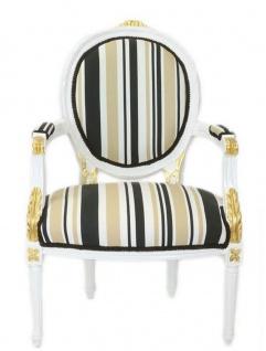 Casa Padrino Barock Salon Stuhl Weiß / Gold / Mehrfarbig 50 x 50 x H. 105 cm - Gestreifter Barock Stuhl mit Armlehnen - Barock Möbel