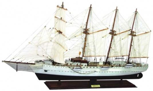 Casa Padrino Luxus Segelschiff Esmeralda mit Massivholz Ständer Weiß / Schwarz / Braun 97 x 25 x H. 70 cm - Handgefertigtes Deko Schiff Holzschiff - Deko Accessoires