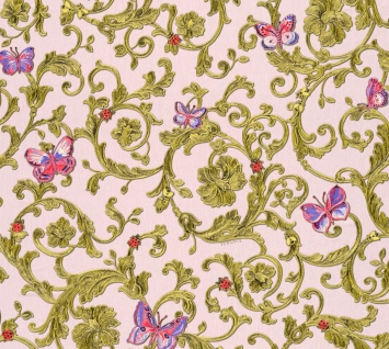Versace Designer Barock Vliestapete Butterfly Barocco 343254 Rosa / Mehrfarbig / Gold - Design Tapete - Luxus Qualität