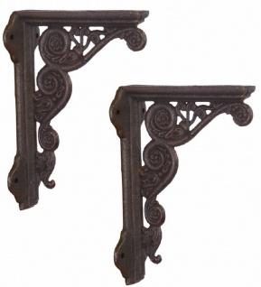 Casa Padrino Jugendstil Gusseisen Wandhalter Set Antik Dunkelbraun 13, 7 x H. 19, 6 cm - Wanddeko - Deko Accessoires