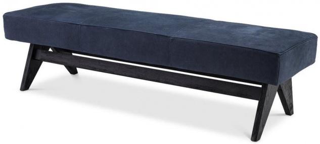 Casa Padrino Luxus Echtleder Bank Blau / Schwarz 164 x 54 x H. 44 cm - Gepolsterte Massivholz Sitzbank mit edlem Nubuk Büffelleder - Luxus Möbel
