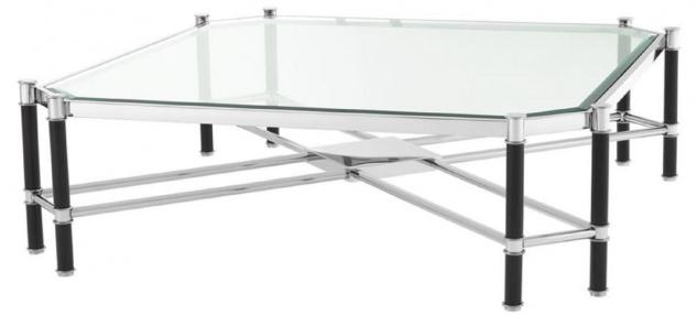 Casa Padrino Luxus Couchtisch Silber / Schwarz 115 x 115 x H. 35 cm - Luxus Wohnzimmermöbel