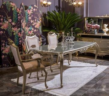 Casa Padrino Luxus Barock Esszimmer Set Rosa / Silber - 1 Esstisch & 6 Esszimmerstühle - Esszimmer Möbel im Barockstil - Edel & Prunkvoll