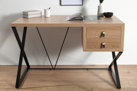 Casa Padrino Schreibtisch Eiche 120cm mit 2 Schubladen - Designer Kollektion - Vorschau 2