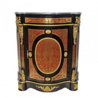 Casa Padrino Barock Boulle Kommode Schwarz / Gold / Rot mit Marmorplatte 80 x H105 cm - Möbel Schrank Sideboard