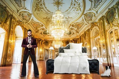 Harald Glööckler Designer Platin Kassettendecke Weiß / Platin 135 x 200 cm + Casa Padrino Luxus Barock Bleistift mit Kronendesign - Vorschau 3