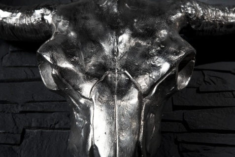 Designer Schädel Matador silber Longhorn Skull H 53 cm, B 63 cm, T 53 cm, edle Skulptur aus Aluminium, Edel & Prunkvoll - Vorschau 3