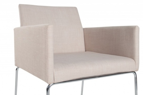 Casa Padrino Designer Stuhl mit Armlehnen Creme 55cm x 80cm x 60cm - Büromöbel - Vorschau 4