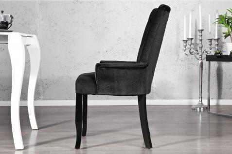 Casa Padrino Luxus Esszimmer Stuhl mit Armlehnen und Strasssteinen, Schwarz Mod2 - Barock Möbel - Vorschau 2