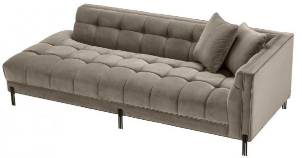 Casa Padrino Luxus Lounge Sofa Greige / Schwarz 223 x 95 x H. 68 cm - Rechtsseitiges Wohnzimmer Sofa mit edlem Samtsoff und 2 Kissen - Vorschau 4