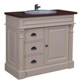 Casa Padrino Landhaus Stil Waschschrank Waschtisch inkl 1 Waschbecken Creme / Braun - Bad Schrank - Vorschau 1