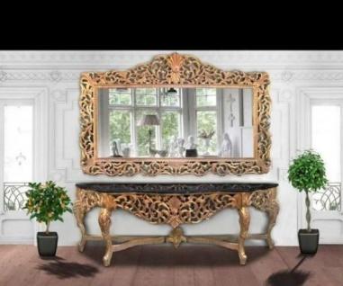 Riesige Casa Padrino Barock Spiegelkonsole Gold mit schwarzer Marmorplatte - Luxus Wohnzimmer Möbel Konsole mit Spiegel