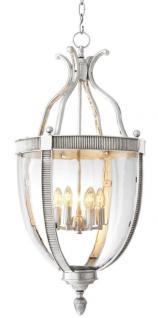 Casa Padrino Designer Hängeleuchte Silber 48 x H. 98 cm - Luxus Hängelampe