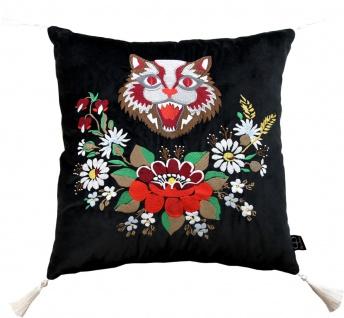 Casa Padrino Luxus Deko Kissen mit Troddeln Cat Schwarz / Weiß 45 x 45 cm - Feinster Samtstoff - Wohnzimmer Kissen