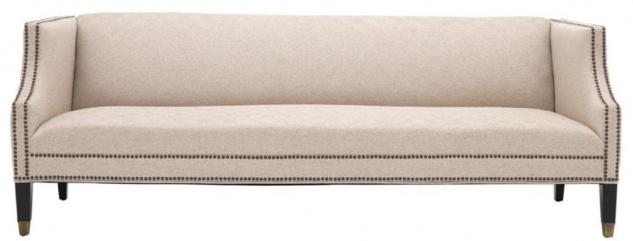 Casa Padrino Luxus Sofa Sandfarben / Schwarz / Antik Messingfarben 210 x 80 x H. 75 cm - Wohnzimmermöbel