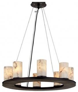 Casa Padrino Luxus Hängeleuchte Schwarz / Weiß Ø 63, 5 x H. 19, 1 cm - Runde Pendelleuchte mit Marmor Lampenschirmen